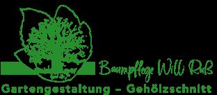 Logo Baumpflege Willi Ruß, zum Schriftzug gehört ein durch Konturen dargestelltes Blatt in welchem ein Baum blüht
