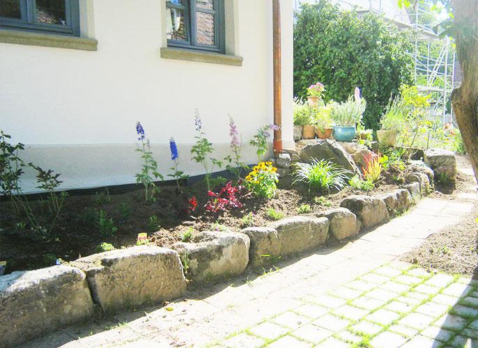 Bunt blühendes Gartenstück